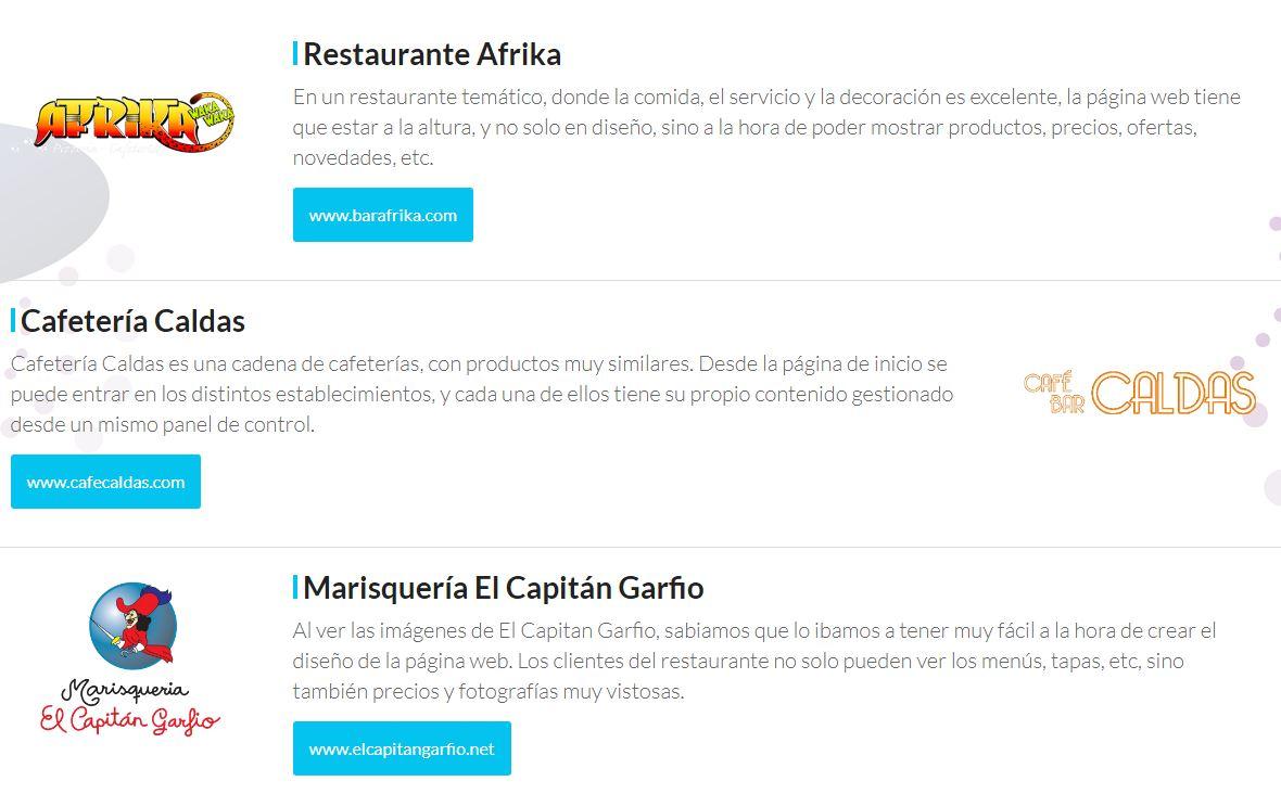 Diseño de páginas web de restaurantes